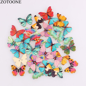 ZOTOONE 50PCS Wooden Sewing Buttons Scrapbooking Colorful Butterfly Mixed Random Two Holes Pattern 28x21mm DIY for Child Girl C