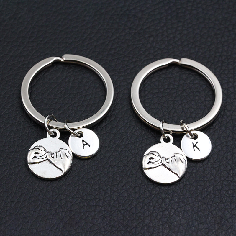 Lettering A-Z Pinky Promise DIY Keyring For Best Friend Couple Boyfriend Girlfriend Gift Men Women Fashion Keychain