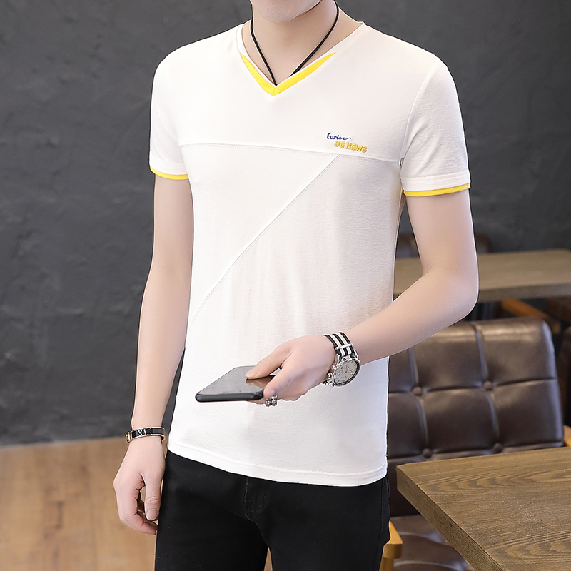 2019 summer new solid color v-neck youth male Korean version of the trend of men's short-sleeved cotton t-shirts 2