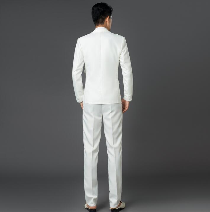 Bal Blazer Pantalon Marié Pour Manteau Chorus Costumes Noir Mode Hommes bleu rouge Paillettes Blanc De Dernières Slim Garçons Mariage Masculino blanc Designs 5ZnF88pY