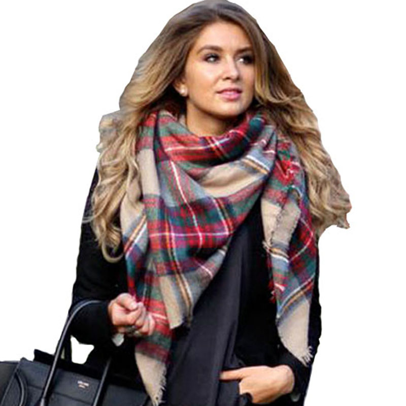 Winter font b Tartan b font Female Scarf Desigual Checkered wool Blend Shawls Women Scarves hickness