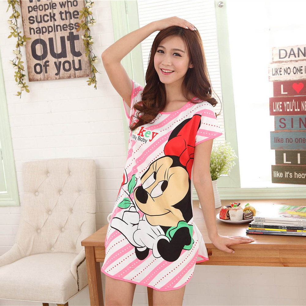 New 2016 Women Loose Nightgowns Sleepshirts Sleepwear Girl\'s ...