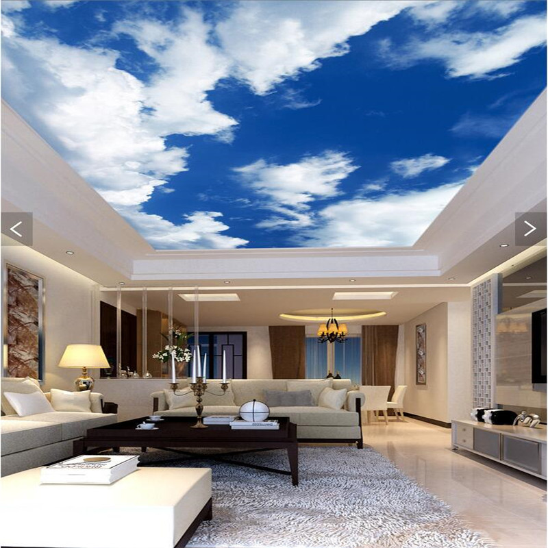 Beibehang Mural Decor Photo Backdrop Blue Sky White Clouds