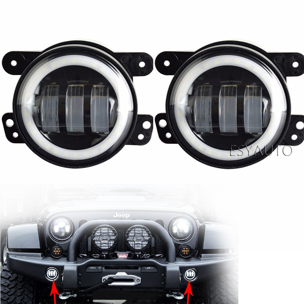 4 Inch LED Auxiliary Fog Lights 30W Bumper Lamps with White DRL Halo Ring Angel Eyes for Jeep Wrangler JK LJ TJ (2 PCS)