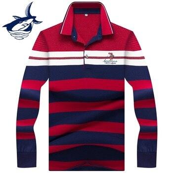 246e45c7da1aa1b 2019 брендовая одежда Tace & Shark polo рубашка hombre с длинным рукавом мужские  поло рубашки para hombre Повседневная Деловая полосатая рубашка