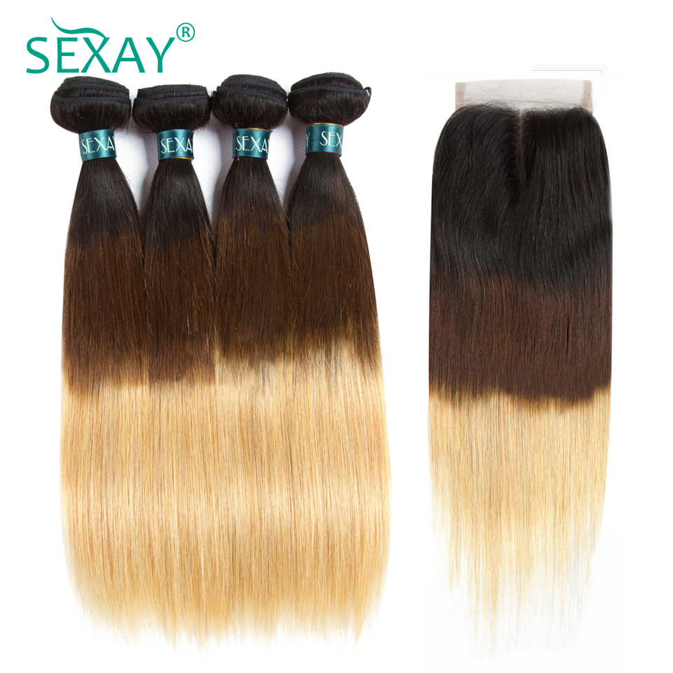 Ombre Bundles With Closure Sexay Pre-Colored 1B/4/27 Three Tone Blonde Hair Brazilian Straight Hair 3 Bundles Pack With Closure