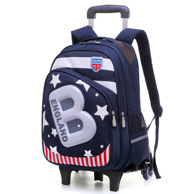 857336a3b480 New Kids 6 Wheels Removable Trolley Backpack Wheeled Bags Children School  Bag for Boys Girls Travel
