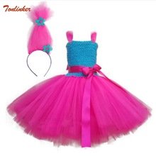 New Christmas Trolls Costume Dress For Girl Cosplay Wig Children Halloween Tutu Kids Party Pageant Ball Gown