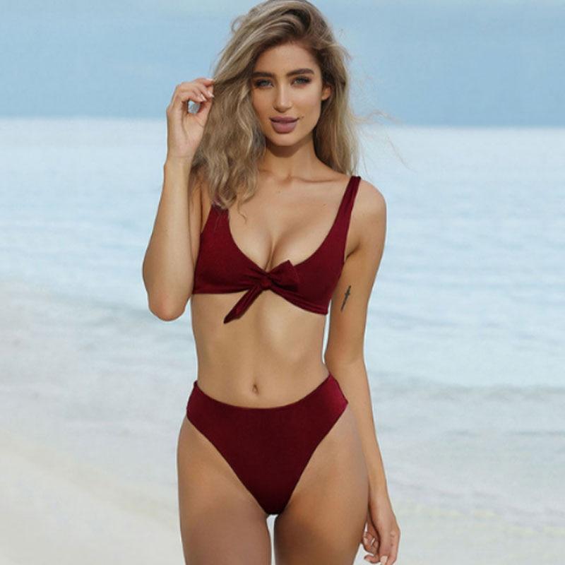 Bogen einfarbig bikini sexy Große V ausschnitt Hohe taille Slip 2019 frauen Biquini mehrere farbe Push Up Bademode