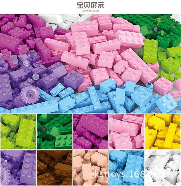 SLUBAN 415pcs Junior Basic Classic Medium Brick Building Blocks Diy Pink Blue Children Educational Toy Compatible with Top Brand