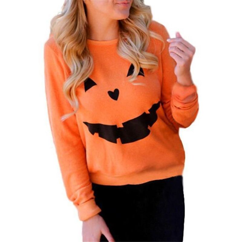 New Halloween Pumpkin T Shirt Women Autumn Long Sleeve T Shirts Female Casual <font><b>O</b></font> Neck Pullover Sweatshirt Plus Size Top Tee