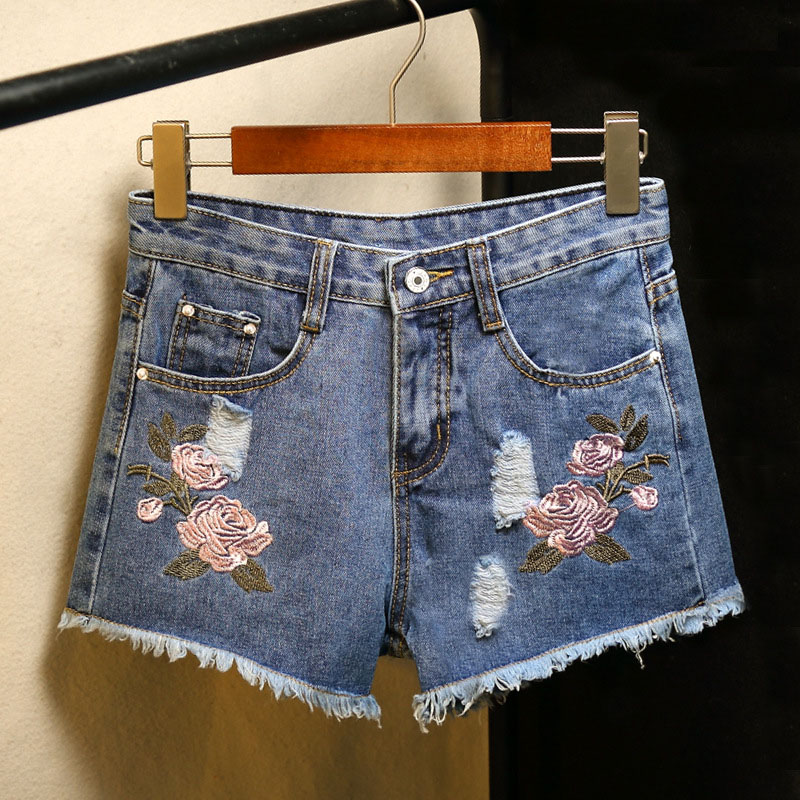 Hot Fashion Women Blue Denim Shorts Mid Waist Flower Embroidery Ripped Washed Shorts Female Loose Straight Short Denim Jeans