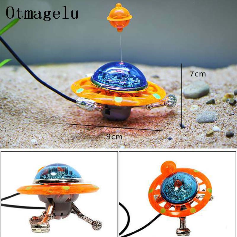 Suspended UFO Aquarium Statue World of Tanks Decorative Fish Tank Ornaments Background Float Aquarium decoration Landscape Tools image