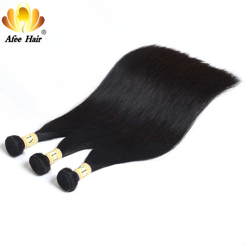 Ali Afee Hair 3 bundles Deal Brazilian Hair Weave Bundles Straight Hair 100% Human Hair Extension NonRemy 8-28'' inch