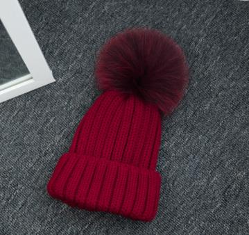 Haute qualité grand 16 cm réel renard fourrure pompon Beanie chapeaux tricotés Chapeau d'hiver Pour Femmes Filles Bonnet de Laine Tricoté Coton Bonnets Casquettes - 6