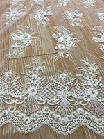 Hot 3d Flower Embroidered Pattern Design White Color African Lace Fabric With Pearls For Sewing Fast