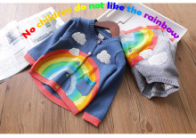 Girl's sweater cardigan jacket new sweater rainbow clouds tide sweaters top sweater toddler cardigan(China)
