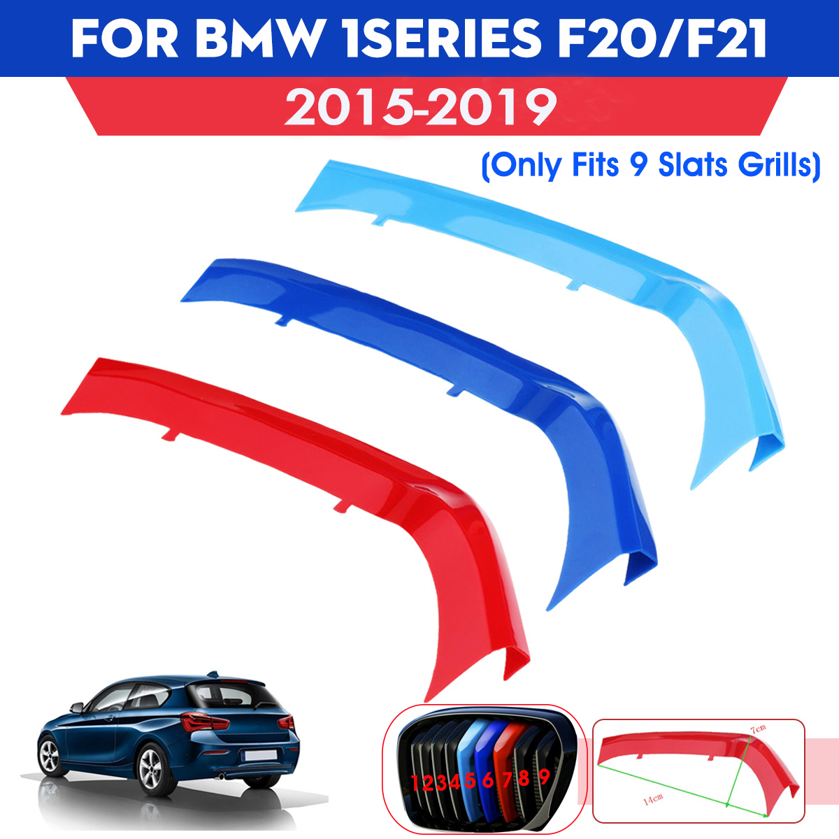3Pcs Tricolor Plastic Car Front Center Grille Cover Trim <font><b>Sticker</b></font> Strip For <font><b>BMW</b></font> 1Series F20/<font><b>F21</b></font> 2015-2018 image