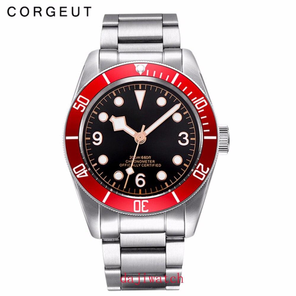 Механические часы Corgeut, светящиеся сапфировые Schwarz Bay, мужские автоматические спортивные часы для плавания, роскошные Брендовые мужские мех... - 3