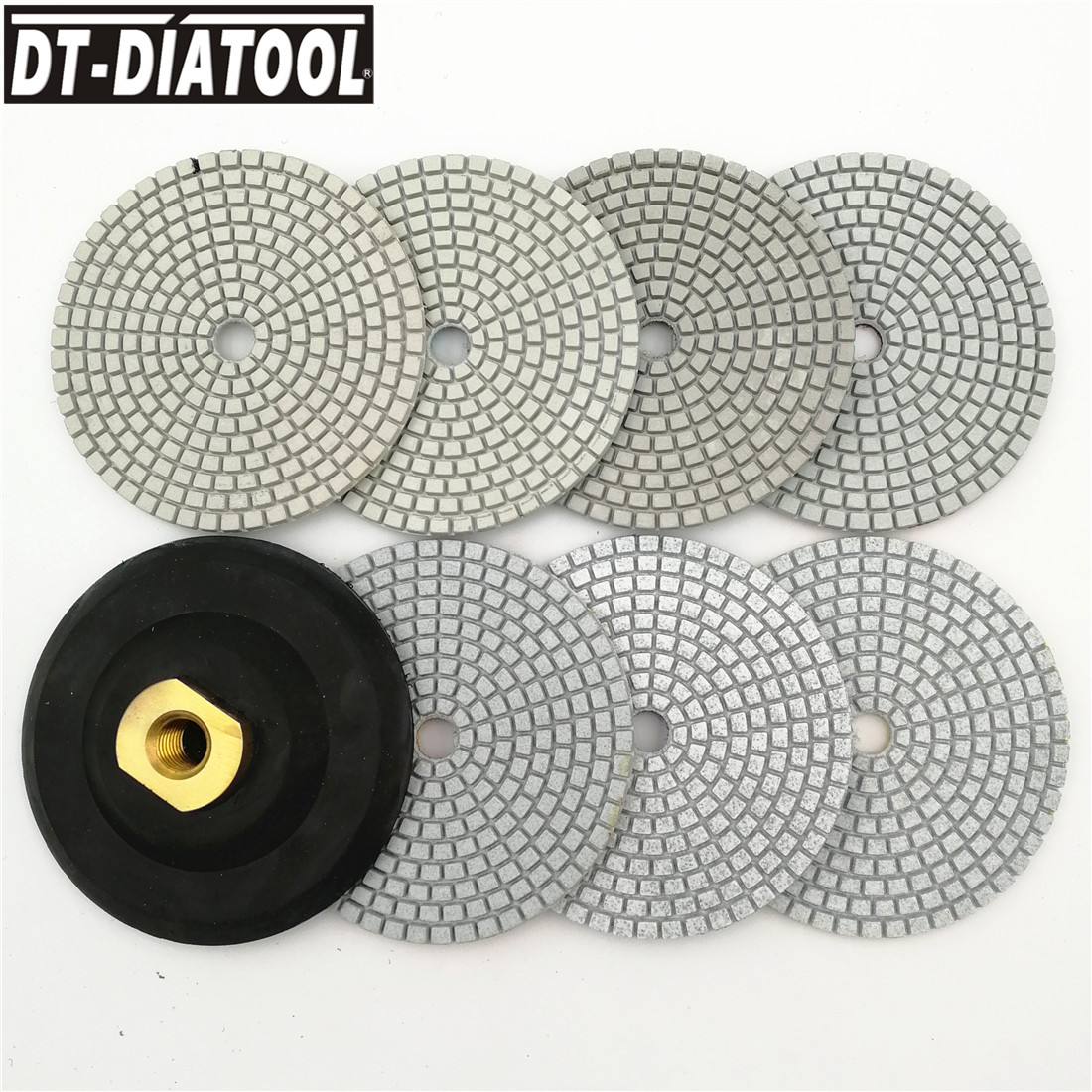 7 DT-DIATOOL pçs/set Molhado ou Seco Almofadas de Polimento de Diamante Ligação de Resina 100 milímetros Discos de Lixa Piso Terrazzo M14 4 polegada polidor de Granito