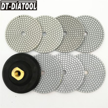 DT-DIATOOL 7pcs/set Diamond Wet or Dry Polishing Pads 100mm Resin Bond Sanding Discs Terrazzo Floor 4inch Granite polisher M14 dt diatool 100mm 4 3 steps wet or dry premium high quality diamond polishing pads resin bond sanding discs for marble concrete