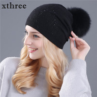 Xthree Winter Hat For Women Wool Knitted Hat Beanies Real Mink And Fox Fur Pom Poms