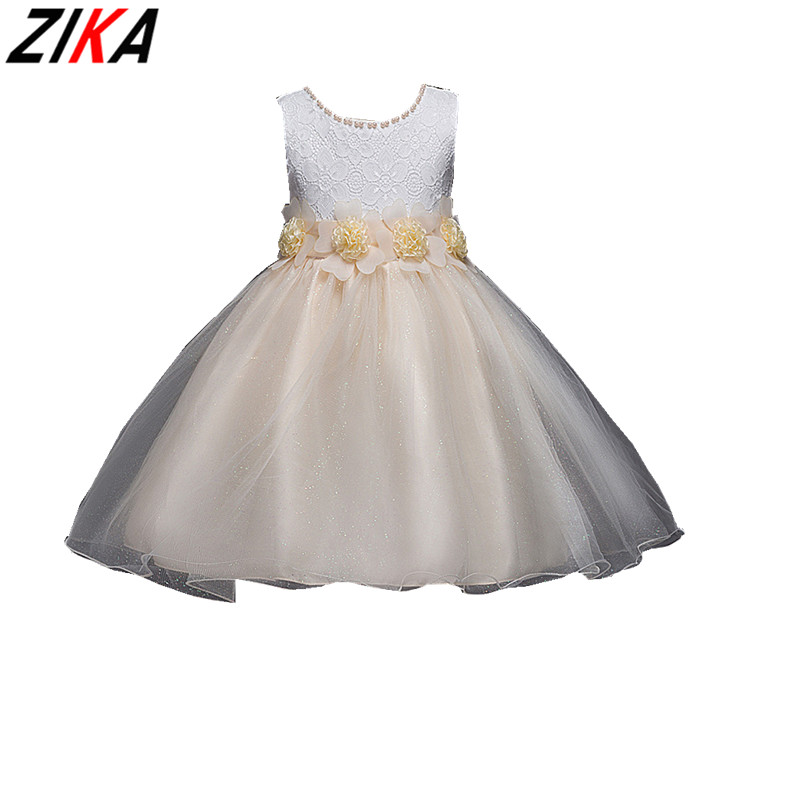 ZIKA Kids Girls Flower Dress Baby Girl Cotton Mesh Birthday Party Dresses Children Fancy Princess Ball Gown Wedding Clothes3-14T princess girl party dress children wedding birthday tutu dress infant lace corchet christening gown baby girls dresses clothes