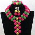 Elegant Fushia Pink/Green Beads Balls African Costume Jewelry Set Gold Plated Indian Bridal Jewelry Set Free Shipping WA675