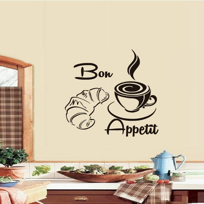 DCTOP Bon Appetit French Coffee Spoon Chef Wall Sticker Restaurants Dining Decoration Kitchen Decals Vinyl Removable Wallpap
