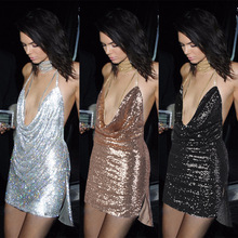 2017 Backless Sexy Deep V Neck Metallic Gold Sequin Women Ladies Female Luxury Short Dress Nightclub Strap Mini Dress Vestidos