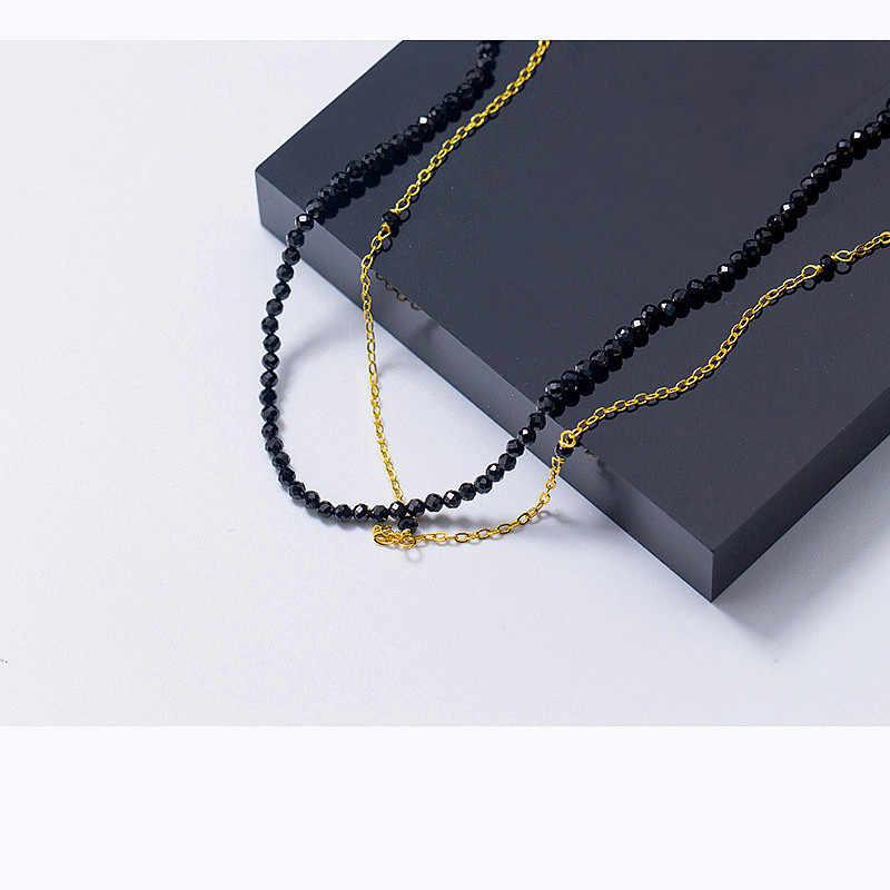 Inzattゴールドチェーン黒石ラウンドダブルチェーンチョーカーネックレス用女性ウェディングパーティーチャームシルバー925ファッションジュエリーギフト