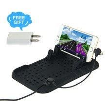 ET Универсальный Автомобильный держатель для приборной панели, подставка для мобильного телефона, нескользящее крепление, USB зарядное устройство, магнитная Нескользящая Накладка для iPhone Andriod