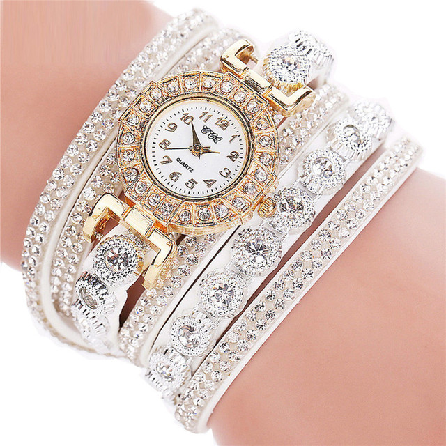 2018 Hot Sale Women Fashion Casual AnalogQuartz Women Rhinestone Watch Bracelet