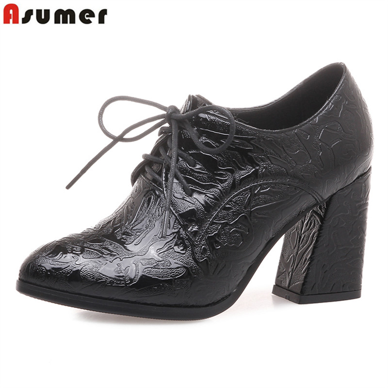 ASUMER Plus size 34-43 New 2018 lace up women pumps pointed toe pu leather dress shoes thick high heels ladies shoes black plus size 34 49 new spring summer women wedges shoes pointed toe work shoes women pumps high heels ladies casual dress pumps