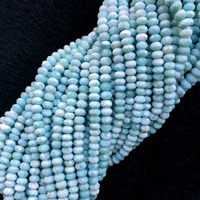 High Quality Natural Genuine Dominican Blue Larimar Hand Cut Loose Gemstone Faceted Rondelle Beads 15