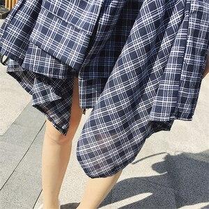Image 4 - Женская винтажная клетчатая юбка, асимметричная юбка в стиле бохо с высокой талией, поясом и бантом, весна лето 202