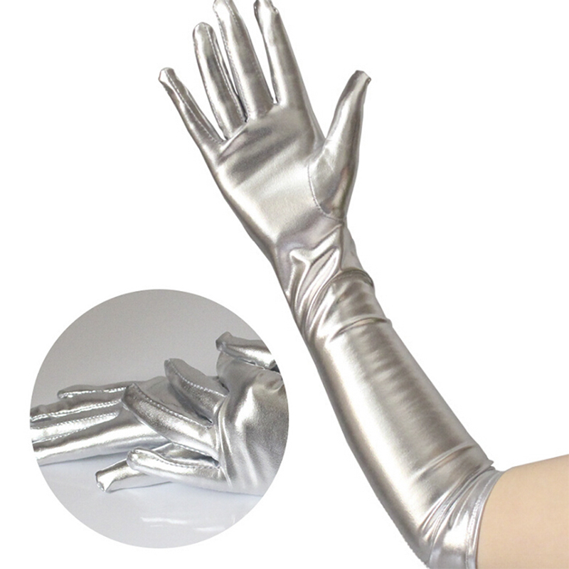 Gold Silver Wet Look Fake Leather Metallic Gloves Evening Party Performance Mittens Women Sexy Elbow Length Long Latex Gloves