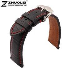 Alta calidad 18 mm 19 mm 20 mm 21 mm 22 mm 23 mm 24 mm nueva negro cuero genuino correa de reloj hombre pulsera de la correa con costuras de color rojo