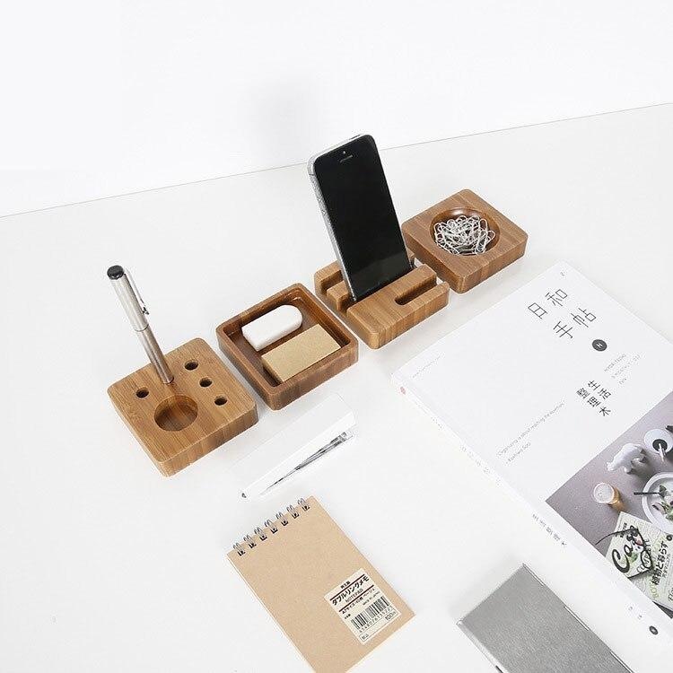 1 Pcs Creative desktop small items storage box bamboo material pencil box office supplies simple storage box 8*8*2CM 4