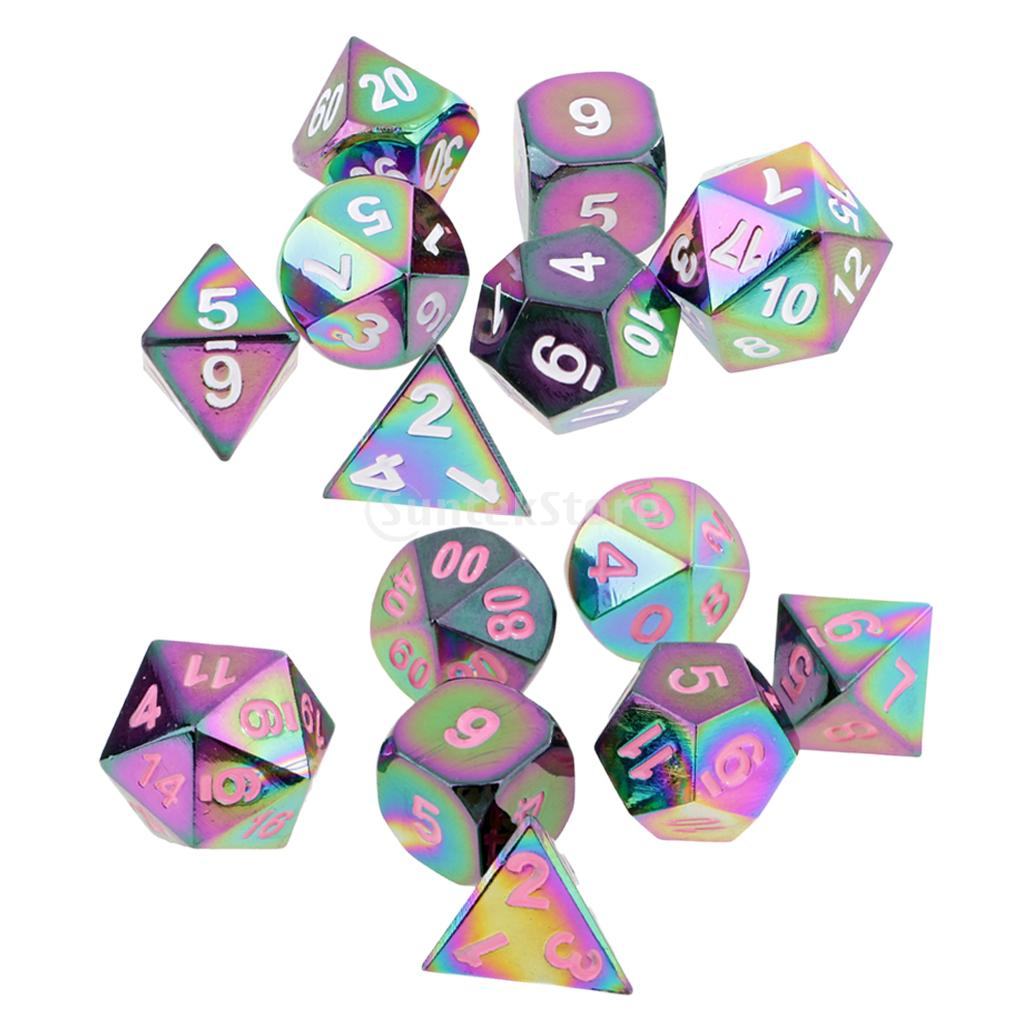 Set of 14 Zinc Alloy Multi sided Dices D20 D12 D10 D8 D6 D4 Digital Dice