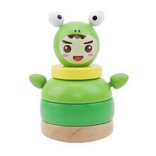 Мультфильм игра в штабелирование деревянные развивающие блоки игрушки тумблер кукла Roly-poly Мобильная игрушка для новорожденных детей подарок