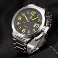 Relogio masculino Esportivo Grande Cara Relógios Esportivos Para Homens Orkina 2016 52mm Grande Black Dial Japão Quartz Auto Data relógio de Prata relógio