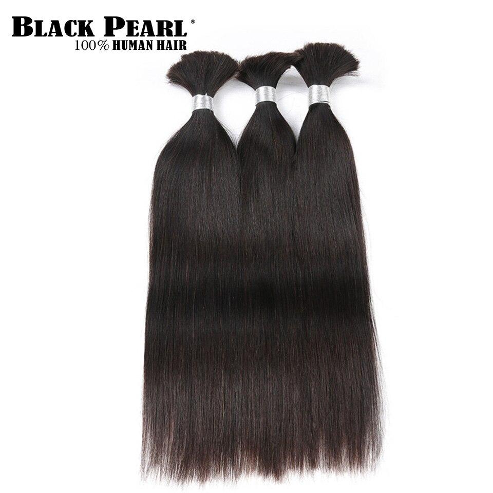 Black Pearl Pre Colored Brazilian Hair Weave Bundles Human Hair Bulk For Braiding Remy Straight Braids