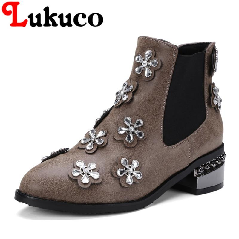 2018 EUR large size to 40 41 42 43 44 45 46 47 48 Lukuco women ankle boots Flower design high quality lady shoes free shipping