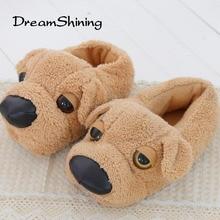 DreamShining Novelty Dog Slippers  Men Women Winter Lovely Cotton-Padded Indoor Female Plush Slipper At Home Pantufas De Animais