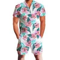 Flamingo Hawaii Gothic Rompers Men Jumpsuit Striped Pineapple Harem Cargo Overalls Summer HipHop Casual Bibs Pants Homosexual