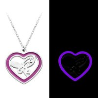New Fashion Stainless Steel Purple Glowing Fairy Necklace Magic Heart Glow In The Dark Charm Pendant