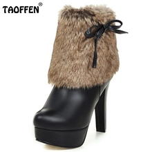 Women High Heel Ankle Boots Ladies Stiletto Shoes Fashion Bowknot Autumn Winter Warm Boots Platform Shoes Woman Heeled Size32-43