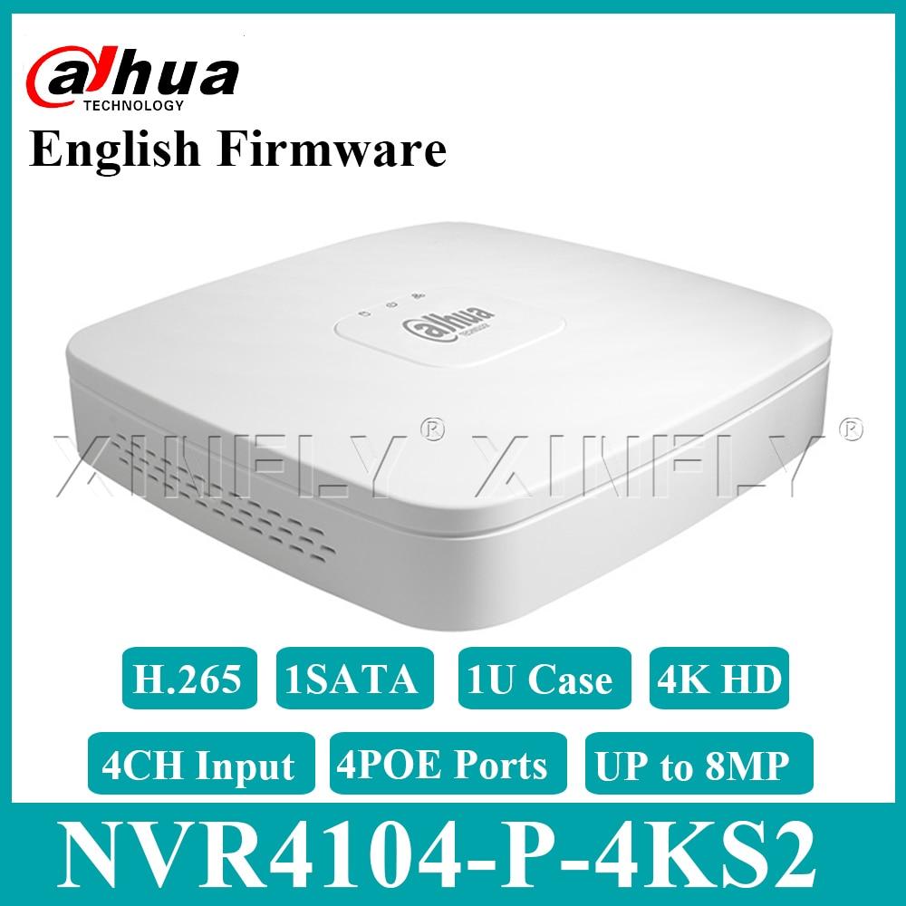 Dahua Original NVR4104-P-4KS2 4CH Smart 1U 4POE 4 K & H.265 Lite Réseau Enregistreur Vidéo Full HD 1080 P Avec 1 SATA Avec Logo