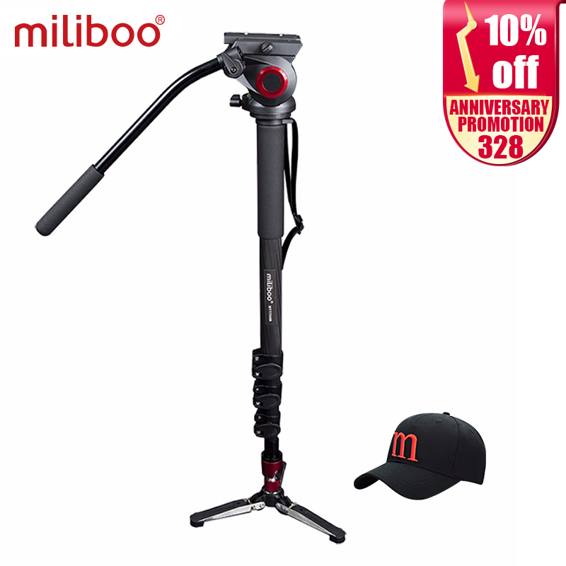 miliboo Մասնագիտական ​​ածխածնի մանրաթել Monopod Flat Heat Mini Tripod Protable Gorillapod 1/4 '' 3/8 '' Screw Stand DSLR տեսախցիկ Video